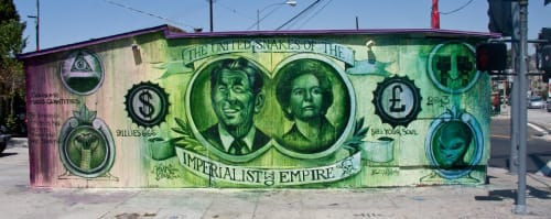 Street Murals by Ben Slow seen at Silver Lake, Los Angeles, Los Angeles - The United Snakes of the Imperialist Empire