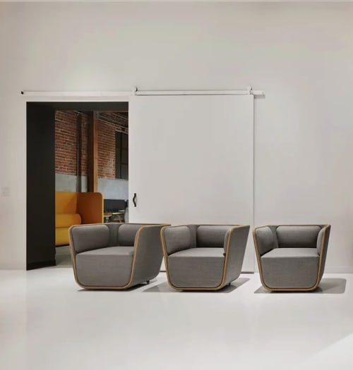 Chairs by Corey Grosser of Cory Grosser + Associates seen at Supplyframe DesignLab, Pasadena - The Elle chair for Cumberland