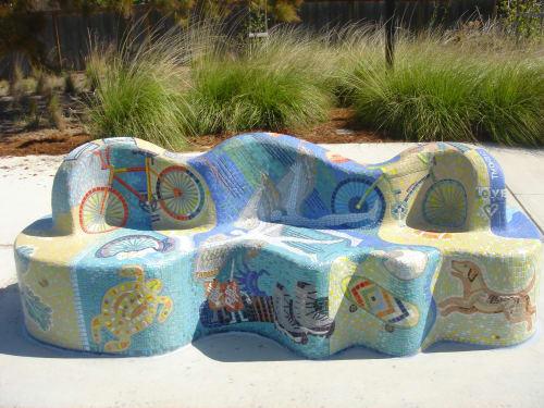 Public Sculptures by Dmitry Mosaics seen at Val Vista Park, Pleasanton - Ryan's Bench