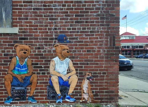 Murals by Sean 9 Lugo seen at The Detroit Mercantile Co., Detroit - Detroit Bears