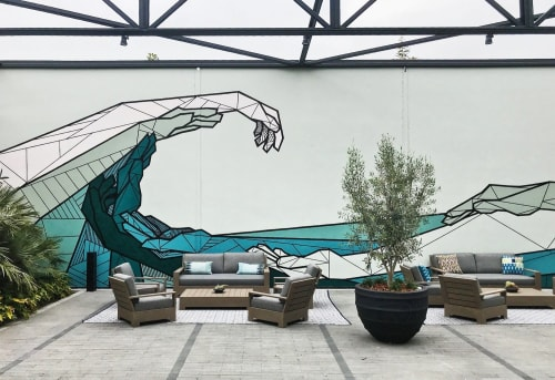 Murals by Allison Kunath seen at 555 aviation, El Segundo - Flow