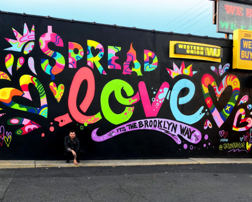 Street Murals by Jason Naylor seen at EZ Pawn Corp, Brooklyn - Spread Love