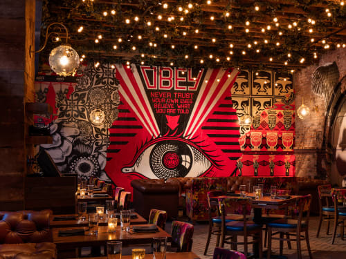 Murals by Frank Shepard Fairey seen at Vandal, New York - Obey