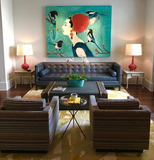 Paintings by Ashley Longshore at Private Residence, New York - Audrey and Magpies
