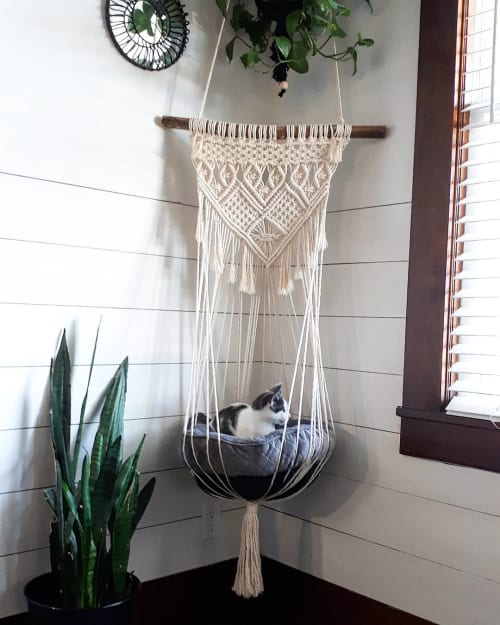 Macrame Wall Hanging by Little Knotty Farmhouse macrame seen at Private Residence, Niagara-on-the-Lake - Handmade Macrame Plant Pot Holder