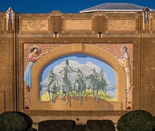 Murals by Richard Haas seen at National Cowgirl Museum and Hall of Fame, Fort Worth - Eastern Facade