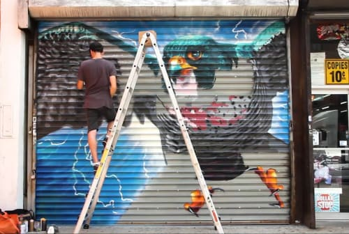 Street Murals by Damien Mitchell seen at 752 St Nicholas Ave, New York - Peregrine Falcon
