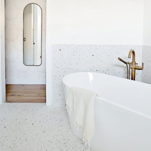 Tiles by concrete collaborative seen at Private Residence, Wilbur - Venice Alabaster Large Marble Chip Tiles