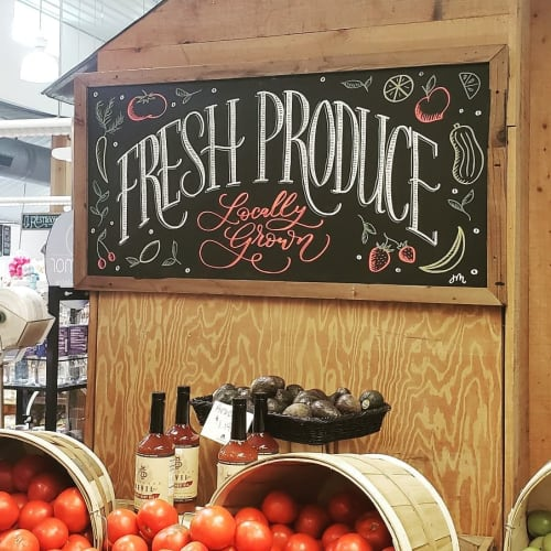 Murals by Jasmine Mullins seen at Boone Hall Farms Market, Mount Pleasant - Lettering Art