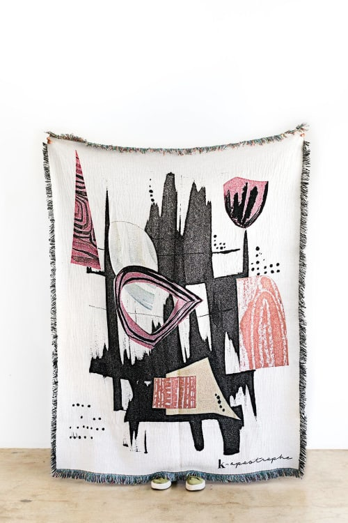 "Linens & Bedding by K'era Morgan seen at Creator's Studio, Los Angeles - ""Totem"" Throw Blanket"