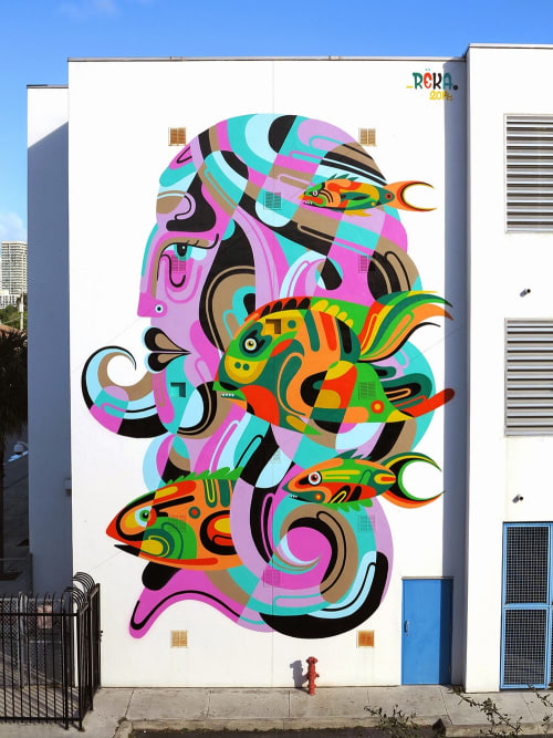Murals by James Reka seen at Jose de Diego Middle School, Miami - Wynwood and Jose Diego Middle School Project