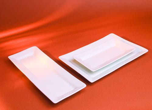 Ceramic Plates by Pillivuyt seen at Petit Crenn, San Francisco - Quartet Rectangular Platters