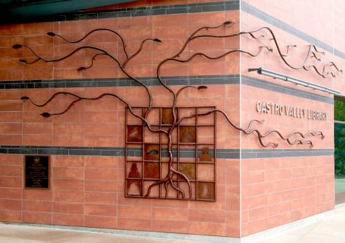 Sculptures by Eric Powell seen at Castro Valley Library, Castro Valley - Tree of Knowledge