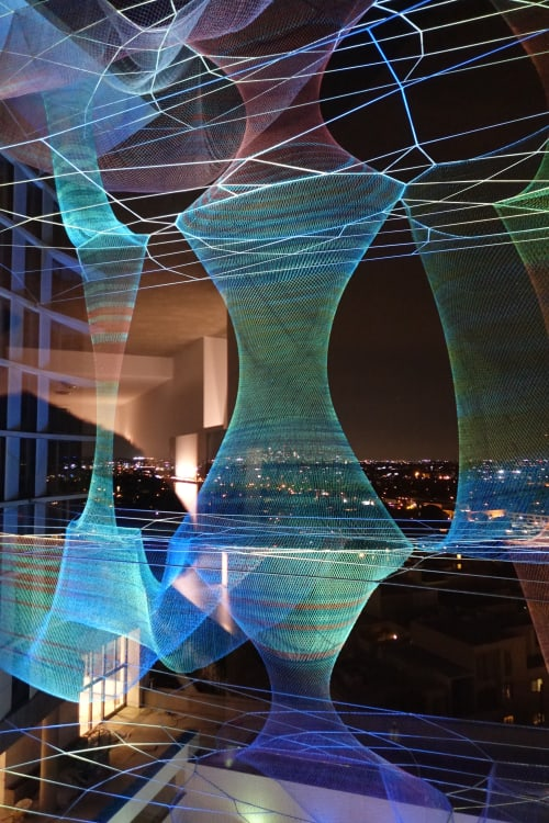 Public Sculptures by Janet Echelman seen at 8490 Sunset Blvd, West Hollywood, CA 90069, West Hollywood - Dream Catcher