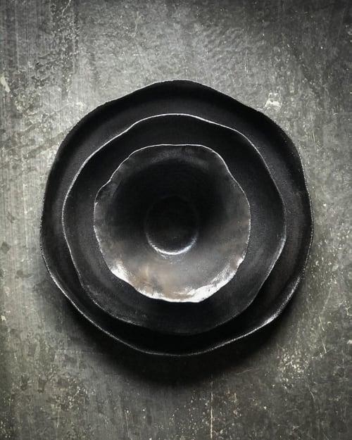 Ceramic Plates by One Handmade Ceramic / Sultan Selim Kır seen at Private Residence, Istanbul - Black Rose Plates