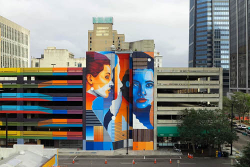 Street Murals by Dourone seen at Jacksonville, FL, Jacksonville - LA VERDAD NO TIENE FORMA (the truth doesn't have shape)