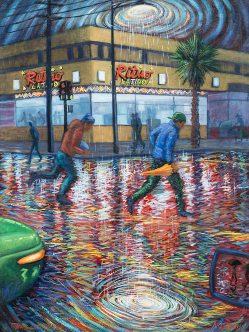 Paintings by Arthur Koch seen at Cafe Revolution 3248 22nd St, San Francisco, CA, San Francisco - Mission in the Rain