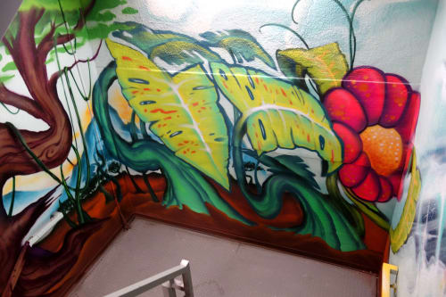 Murals by Pemex seen at Hotel Zetta, San Francisco - Flower Power