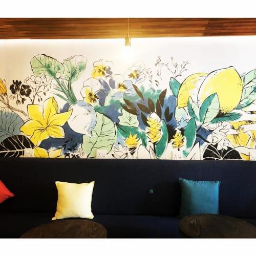 Pillows by SunBurst seen at Lexi's Healthy Eatery, Sandton - Sawa Blue Cotton Pillow