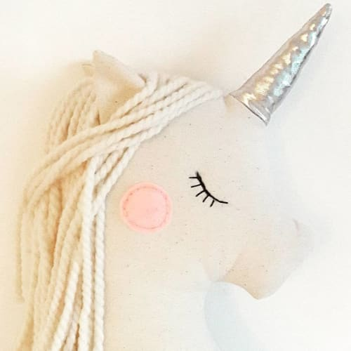 Pillows by Miss Joyka Handmade Soft Toys/Dolls seen at Private Residence, Los Angeles - Unicorn Plush Pillow
