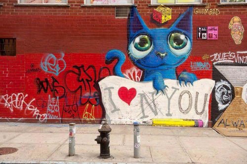 Street Murals by Himbad seen at 1st Ave 2nd Street Manhattan New York, New York - I Hate New York but I love YOU