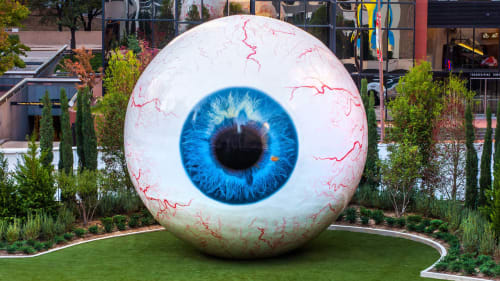 Public Sculptures by Tony Tasset seen at Pritzker Park, Chicago - Eye