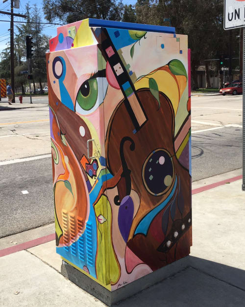 Street Murals by Alexandra Kube seen at Chandler Blvd & Tujunga Ave, North Hollywood, Los Angeles - Strings and Wings 3
