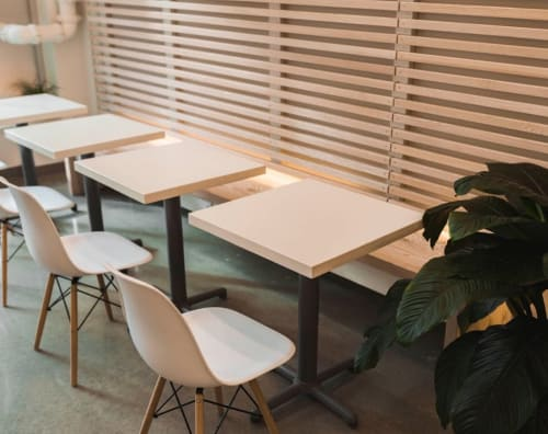 Tables by J&S Custom Furniture seen at Elephant Garden Creamery, Vancouver - Bistro Tables and Bench