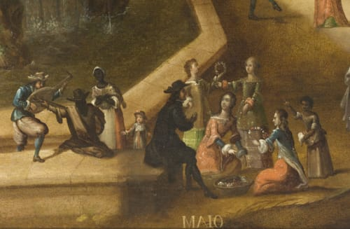 Paintings by Antonio de Espinosa seen at Art of The Americas Building, Los Angeles - The Twelve Months of the Year (Los doce meses del año)