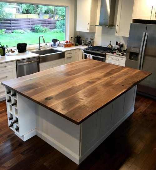 Furniture by Cask Woodworking seen at Private Residence - Walnut Island Counter-top