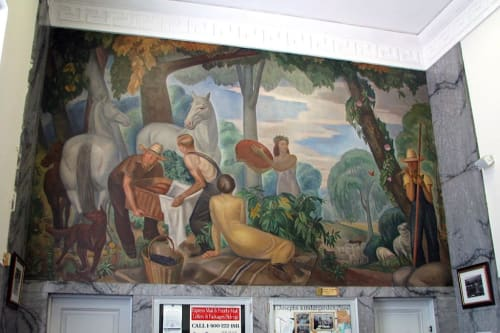 Murals by J. Theodore Johnson seen at United States Postal Service, Garden City, NY, Garden City - Huckleberry Frolic
