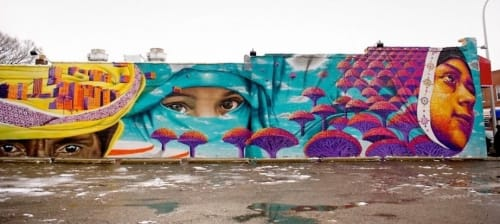 Murals by Dasic Fernandez seen at Sheeba Restaurant, Hamtramck - Yemeni Americans