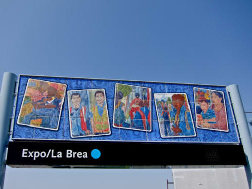 Murals by Jose Lozano seen at Expo/La Brea, Los Angeles - LA Metro Lotería