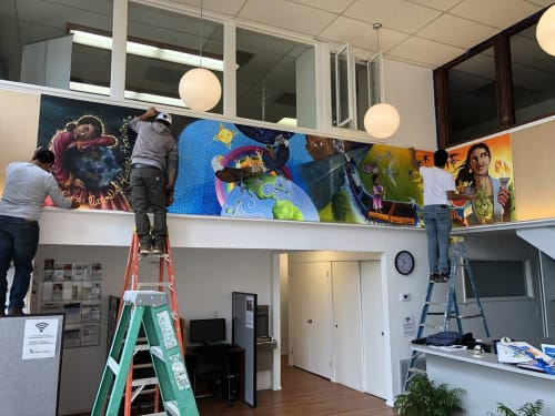 Murals by Cynthia Tom Art seen at Canal Alliance, San Rafael - Entre Manos de Aliadas Poderosas Mural