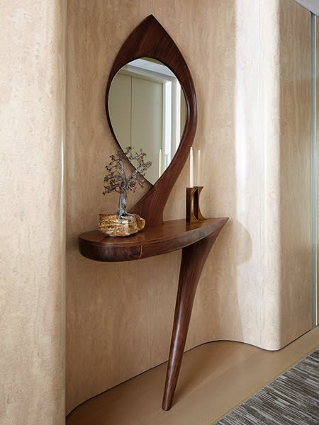 Tables by Michael Coffey seen at Tribeca Triplex, New York, New York - Heron III Table and Mirror