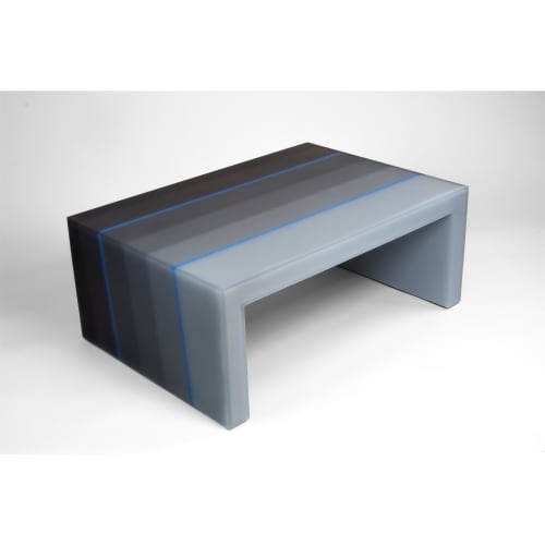 Tables by Facture Studio seen at Independent Lodging Congress, in the William Vale NYC, Brooklyn - Gradient Coffee Table (blue)