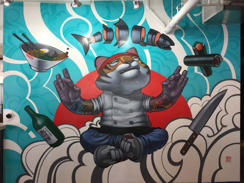 Murals by John Park at Ramen Roll - Culver City, Culver City - Tiger Chef 2016