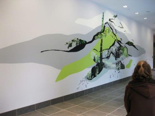 Murals by Sandy Litchfield at Avenir Apartments, Boston - Up Castle Rock