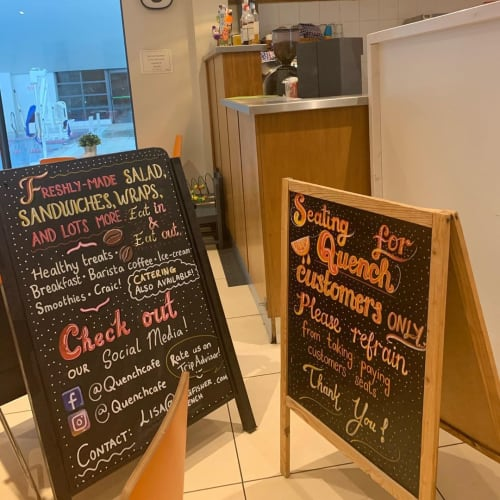 Signage by Caoilfhionn Hanton seen at Quench, Waterford - Menu Signage