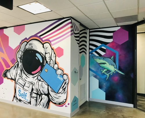 Murals by Mike Johnston seen at Self Financial, Inc., Austin - Self Lender Mural