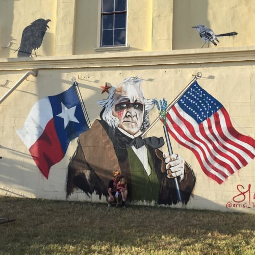 "Street Murals by Tra Slaughter seen at Houston Area, Houston - Sam ""Black Raven"" Houston"