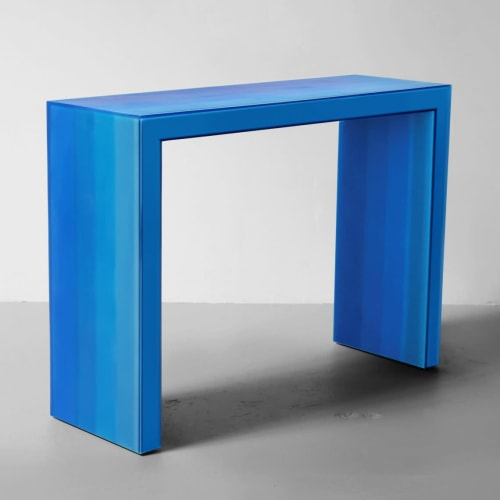 Tables by Facture Studio seen at VSOP Art + Design Projects, Greenport - Gradient Console Blue