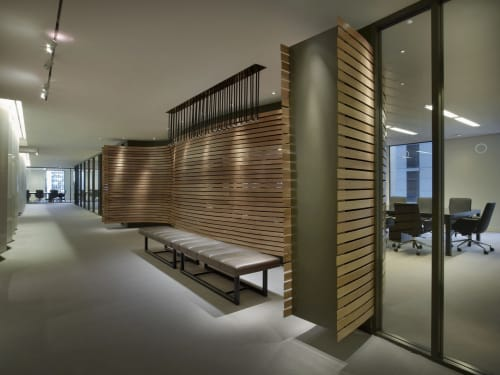Furniture by Amuneal seen at Orrick, Herrington & Sutcliffe, LLP, New York - Orrick Architectural Feature Walls