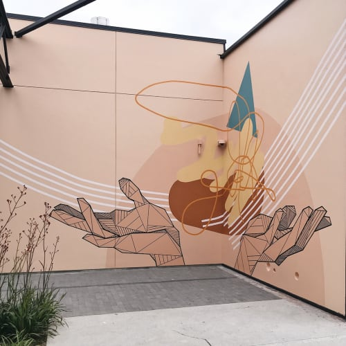 Murals by Allison Kunath at 555 aviation, El Segundo - Offering