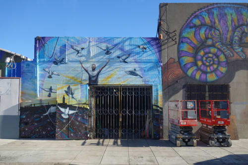 Street Murals by Clinton Bopp seen at Egbert Avenue off 3rd St, San Francisco, CA, San Francisco - Peace and Love