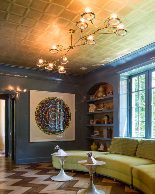 Chandeliers by Neptune Glassworks seen at Private Residence - Lens Chandelier