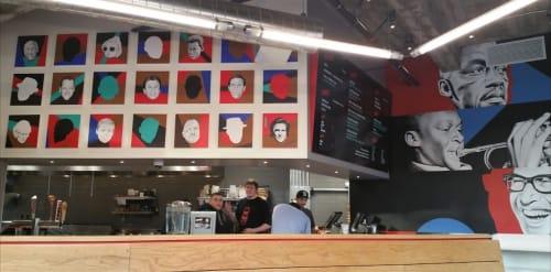 Murals by Ian Johnson seen at Popson's Burgers, San Francisco - Quartet (Blakey, Miles, Brubeck, Mingus)