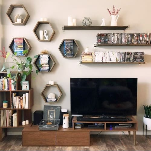 Furniture by Roaming Roots at Private Residence, Spokane - Honeycomb Hexagon Shelves