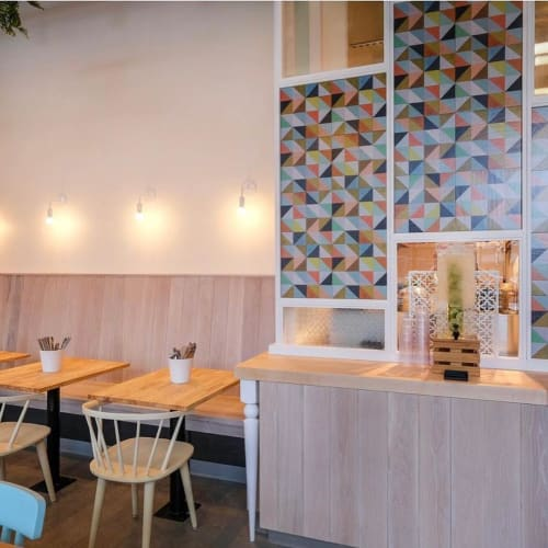 Tiles by Mirth Studio seen at Bounty Kitchen Denny Triangle, Seattle - Flirt Hardwood Tile