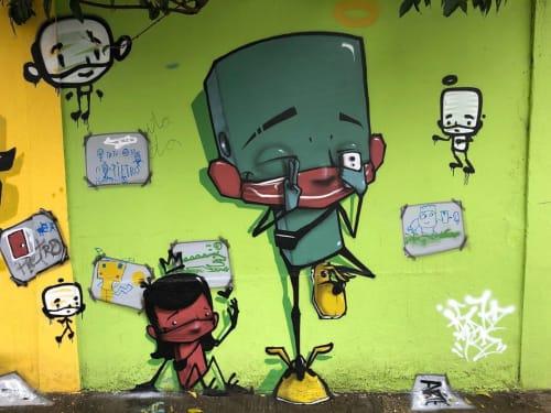 Street Murals by Ignoto graffiti seen at EMEF 8 DE MAIO, Cidade Antônio Estêvão de Carvalho - Mural